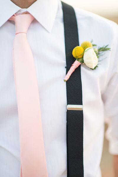 pink tie, suspenders, billy ball boutonniere   Michelle Boyd #wedding