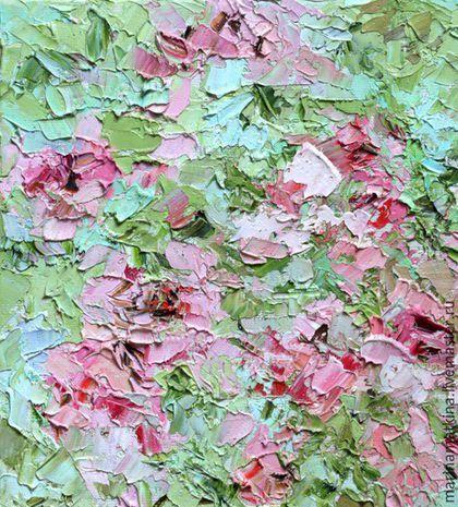 Купить или заказать Ярко зеленая картина с маслом абстракция цветы розы на ветру розовая в интернет-магазине на Ярмарке Мастеров. Ярко зеленая картина с маслом абстракция цветы розы на ветру розовая цветная разноцветная картина для украсить интерьер комнаты дома Авторская оригинальная картина объемная рельефная пастозная живопись. Края картины прописаны в цвет картины (галерейная натяжка холста). Не требует багета (рамы). 'Розы на торте. Ветер. Мощь' Автор Марина Маткина (г.Пермь, Пермский…