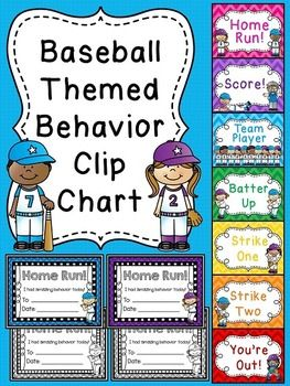 "Behavior Chart {Baseball themed} - a fun chevron behavior chart for your classroom! Perfect for a sports themed classroom or just a fun theme to spruce up your behavior clip chart!All students' clothespins start on ""Batter Up"" and move up or down on the chart based on their choices."