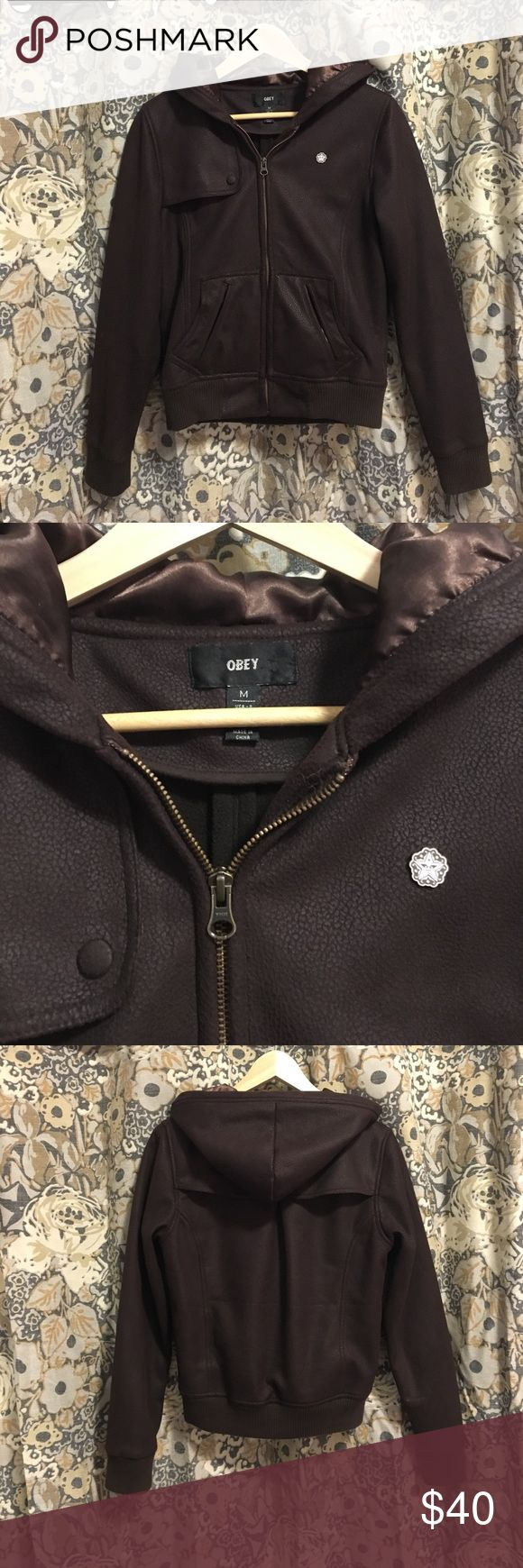 Obey Brown Bomber Jacket This jacket is so warm, soft, and feels new. The hood is made from a shiny polyester that imitates silk. Wonderful bomber. I am open to offers :) Obey Jackets & Coats