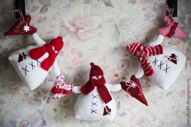 Гирлянда «Друзья-снеговики» станет оригинальным элементом праздничного новогоднего убранства, ее можно повесить на камин или украсить кухонную полку. Прототипом для создания снеговичков стали классические снеговики Тильда. Они были слегка адаптированы под условия суровой русской зимы: одеты в шерстяные шапки и шарфы. Изготовить гирлянду совсем несложно, все материалы наверняка окажутся под рукой: белая фланелевая…