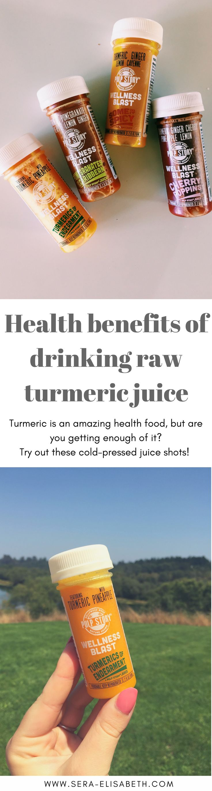 Turmeric might be the answer to your health woes - did you know it was so powerful? | cold pressed turmeric juice | turmeric for health | turmeric for wellness | anti-inflammatory | juicing benefits | ginger and turmeric for immune support | healthy juice | juice shots | wellness supplements | why drinking raw turmeric juice is a good idea | raw turmeric | health benefits of raw turmeric root | Ayurvedic medicine | holistic wellness | nutrition | Sera Elisabeth