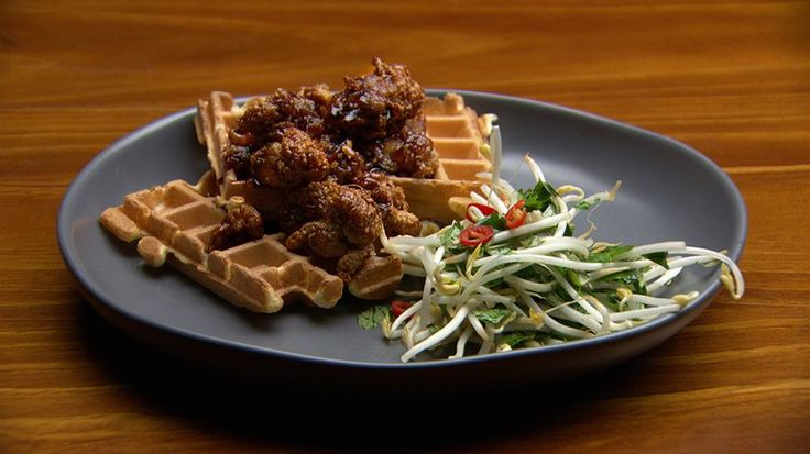 Waffles with Triple Fried Chicken and Chilli Caramel