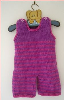 Knitting pattern for 12ply striped overalls.