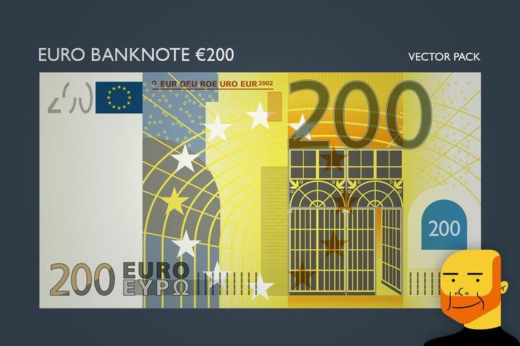 Euro Banknote €200 (Vector) by Paulo Buchinho on Creative Market