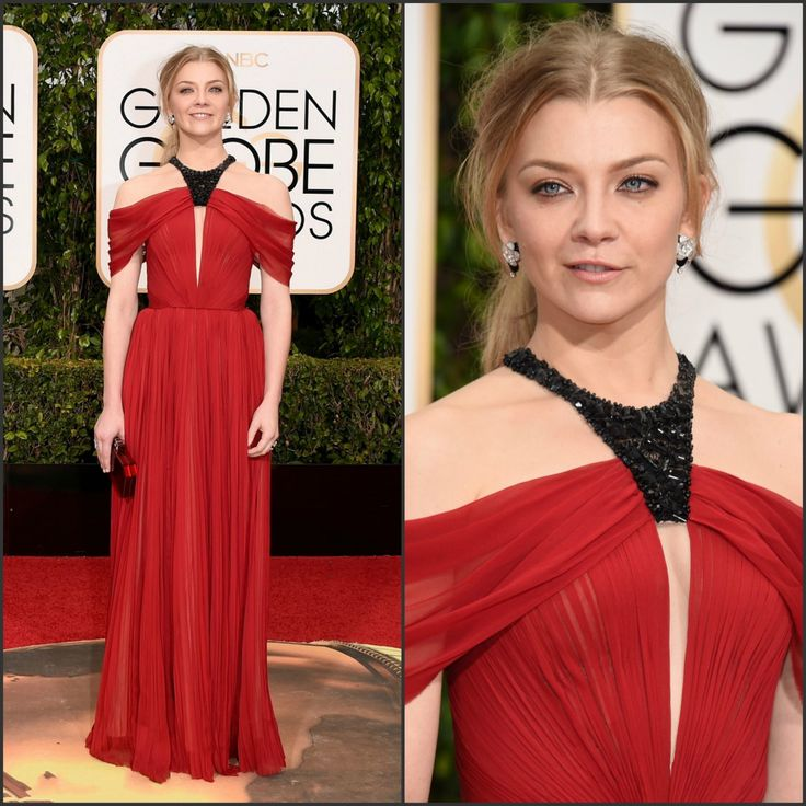 Chic Red Natalie Dormer Long Chiffon Best Dress Halter Black Bead Pleat Celebrity Dress At 73rd Annual Golden Globe Awards 2016
