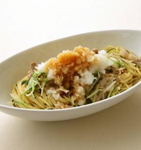 豚肉と水菜のおろしぽん酢パスタ
