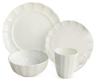16-Pc Scallop Bone China Dinnerware Set