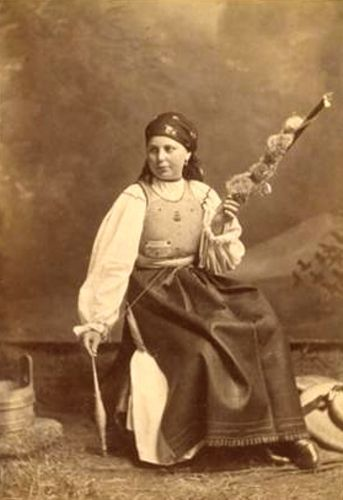 Romanian lady spinning 1882-1897