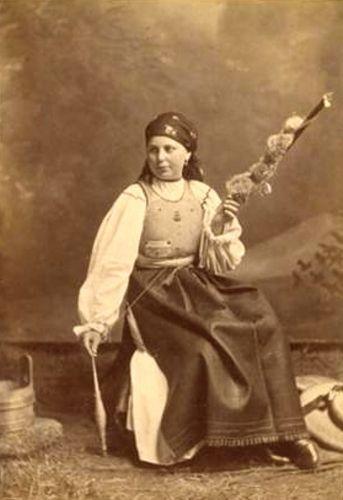 Romanian lady spinning 1882-1897