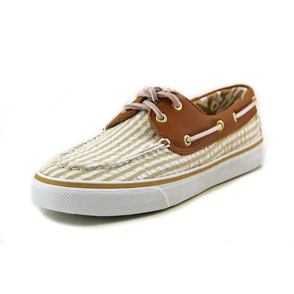 Sperry Top Sider Bahama 2 Eye Women Boat Shoes ($18) ❤ liked on Polyvore featuring shoes, loafers, tan, sand shoes, topsider shoes, cognac shoes, top sider shoes and boat shoes