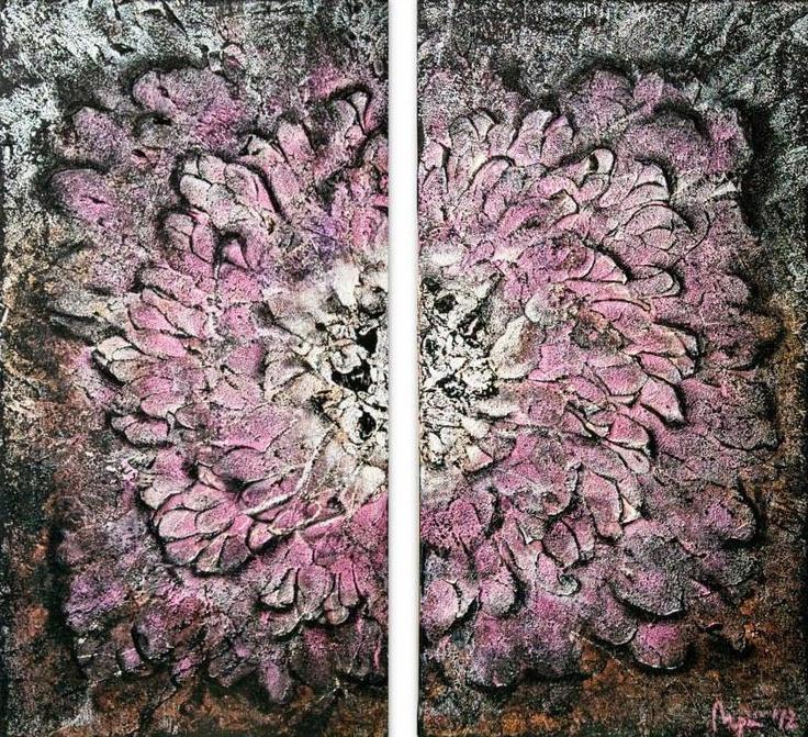 Acrylic on 2 12x24 canvas using Glass Bead Gel