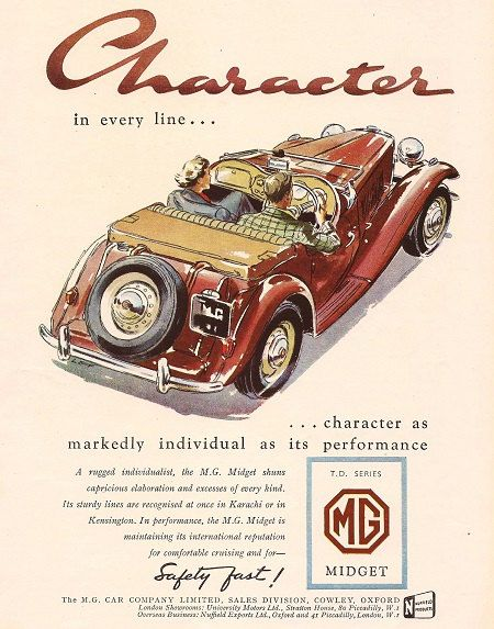 MG Midget Car Print 1952, Advertising Wall Art by RetroAdverts on Etsy https://www.etsy.com/listing/218313202/mg-midget-car-print-1952-advertising