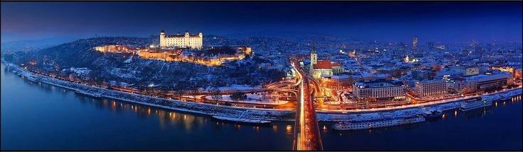 Bratislava, capital of Slovakia - view from the UFO tower: http://www.welcometobratislava.eu/portfolio/ufo-bridge-tower/