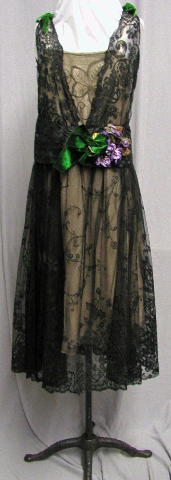 #16222, 1920's Black Lace, Ivory Silk & Velvet Dinner Gown | eBay https://bellanblue.com