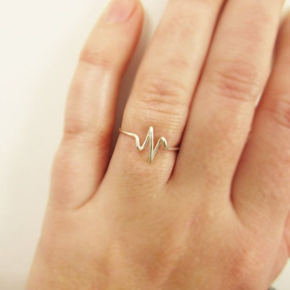 Heartbeat Ring, Sterling Silver or Gold Wire Wrap Ring, EKG, Pulse, Nurse Gift Doctor Gift, Bride Girlfriend Gifts, Jewelry Gifts Under 10.....why is it we live? The simple heart beat reminds us each day is a triumph