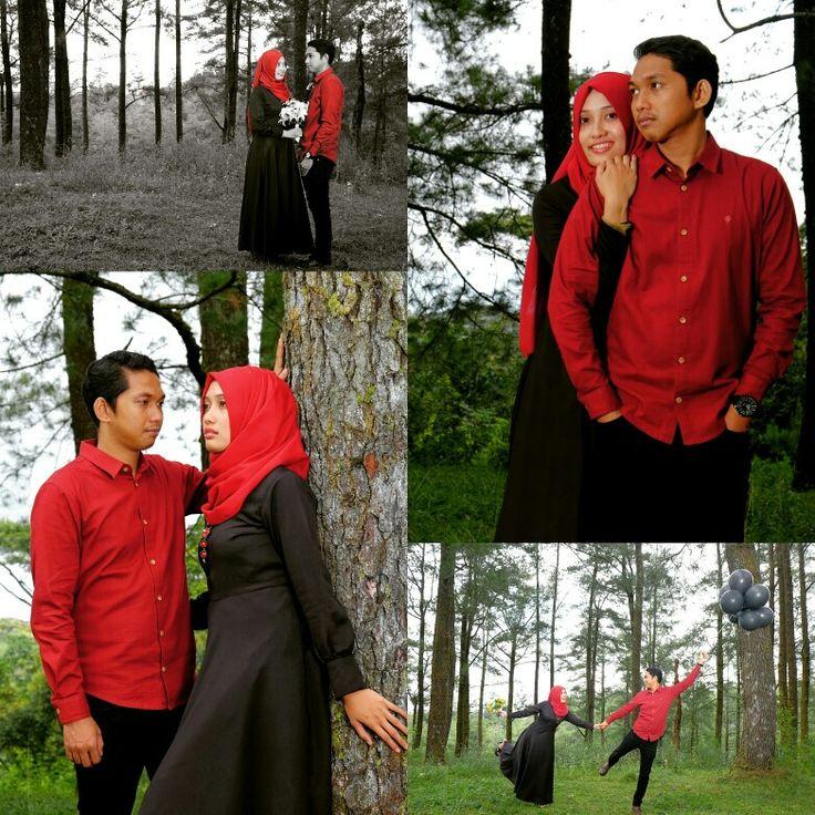 Prewedding red forest