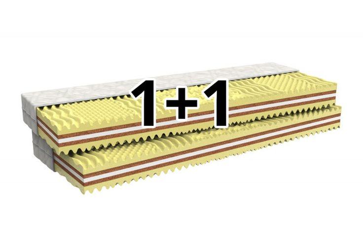 Matrace Hortenzie 1+1 NAVÍC má 7 anatomických zón, nosnost 120 kg avýšku 15 cm. Hygienu matrace zajišťují 2 desky zkokosových vláken a PUR pěna smasážním efektem.