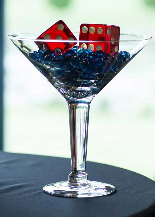 James Bond Party Decor / Martini Glass & Dice