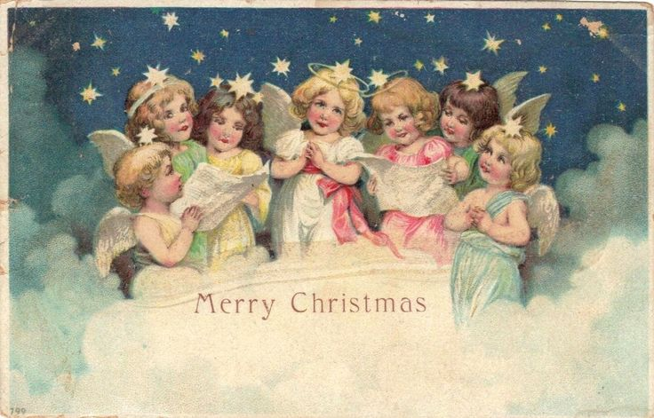 Old Christmas Post Сards — Cupids & Angels  (1000x641):