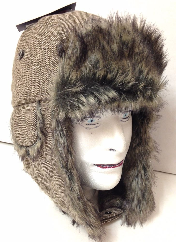 S/M (Sm/Med) New$38 DOCKERS WINTER TRAPPER HAT Faux Fur Brown/Tan Men/Women NWT #DOCKERS #AviatorTrapper