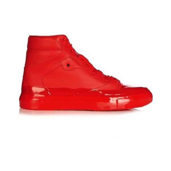 Balenciaga Dipping-effect high-top leather trainers (915 AUD) ❤ liked on Polyvore featuring men's fashion, men's shoes, men's sneakers, red, shoes, mens red high top sneakers, balenciaga mens shoes, mens black leather high top sneakers, mens leather shoes and mens leather sneakers