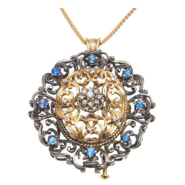 1920s Victorian Revival Sapphire Diamond Silver Gold Brooch Pendant | From a unique collection of vintage pendant necklaces at https://www.1stdibs.com/jewelry/necklaces/pendant-necklaces/