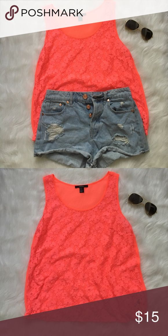Neon Coral Lace Tank Very vibrant lace coral tank top.  98% nylon, 2% spandex.  Measurements available upon request Forever 21 Tops