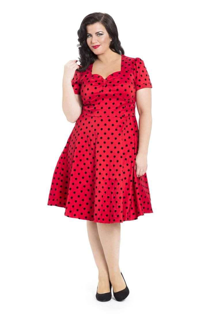 Turn heads in this red taffeta polka dot dress, available online in sizes 16-26 -->  http://www.claireabellascloset.co.uk/vintage/vintage-plus-size/product/1587-voodoo-vixen-elizapolka-dress-plus-size-16-26