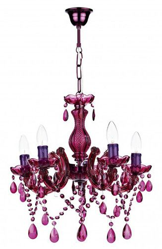 Modern and unique purple coloured chandelier ceiling light with glass droplets a | eBay