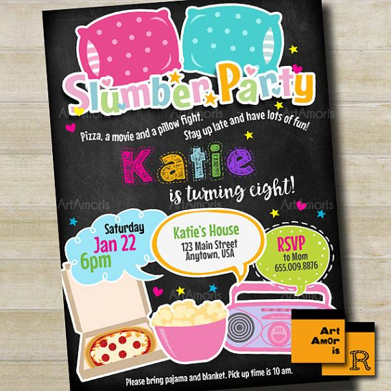 Slumber Party Invitation Girls Slumber Party by ArtAmoris on Etsy