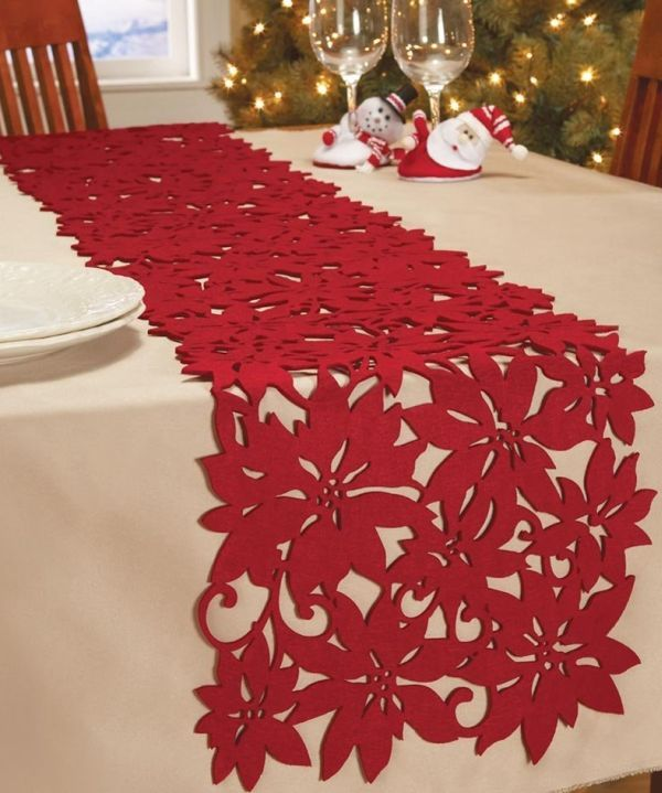 Whether you re dining on white linen, red & green plaid or no tablecloth at all, this felt die-cut poinsettia runner adds an extra touch of elegance to the table.