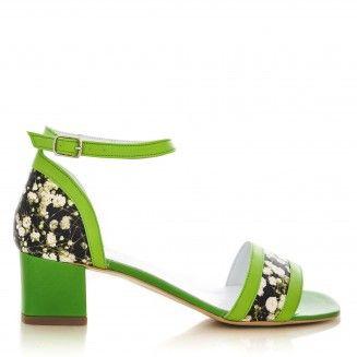 sandale dama din piele naturala 1800 lacramioare cu verde