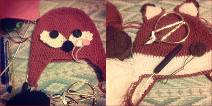 There is instagram swatch photos of crochet fox beanies: on the left for my daughter, on the right for my friend's son . Enjoy :)