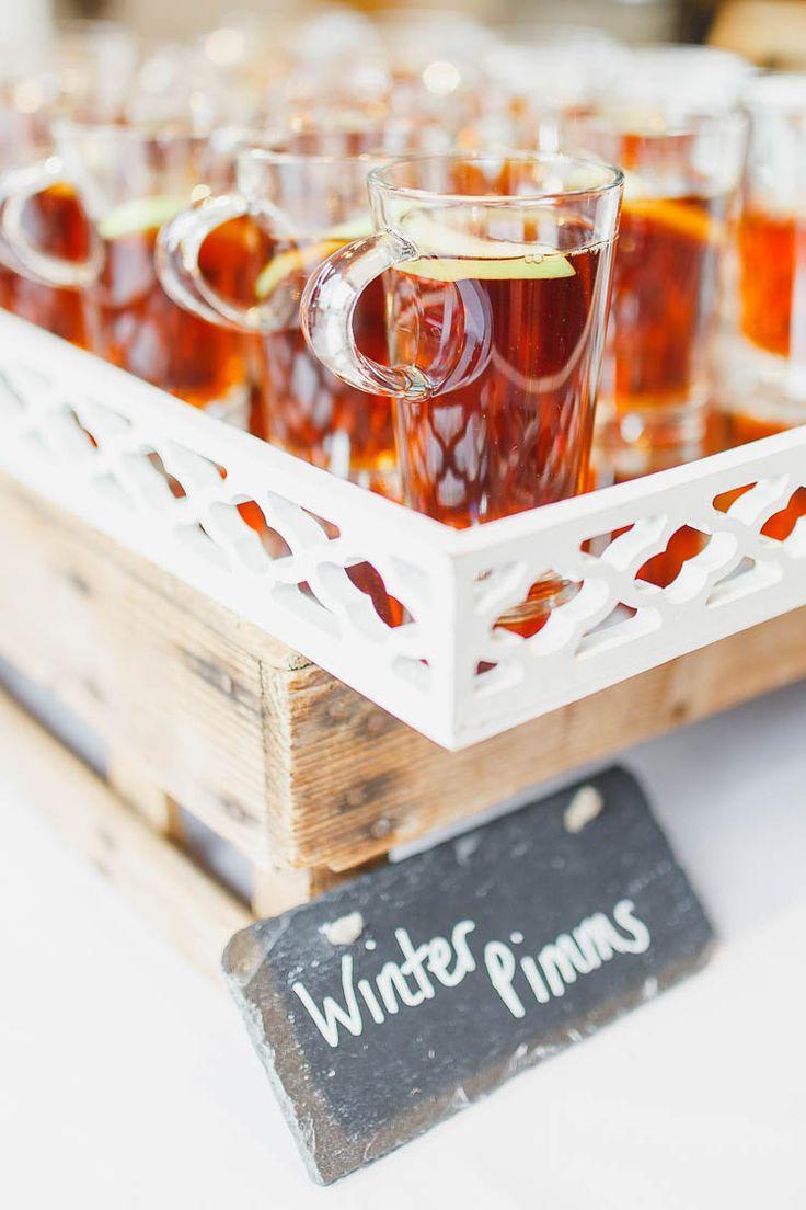 Winter Pimms Drinks Beautiful Rustic Fairy Lights Barn Wedding http://whitestagweddings.com/