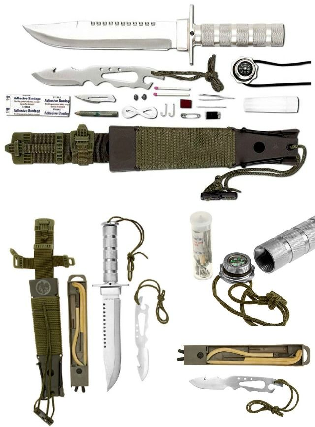 The Maxam 12pc Survival Knife is quite a handy survival kit with quite a number of hidden tricks up its sheath including a slingshot and an extra knife.