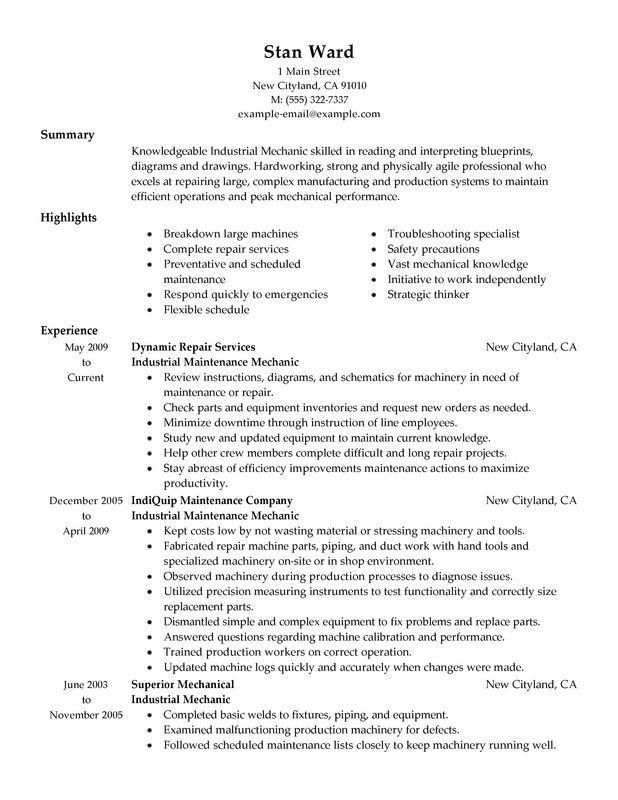 Resume Examples Diesel Mechanic #diesel #examples #mechanic #resume