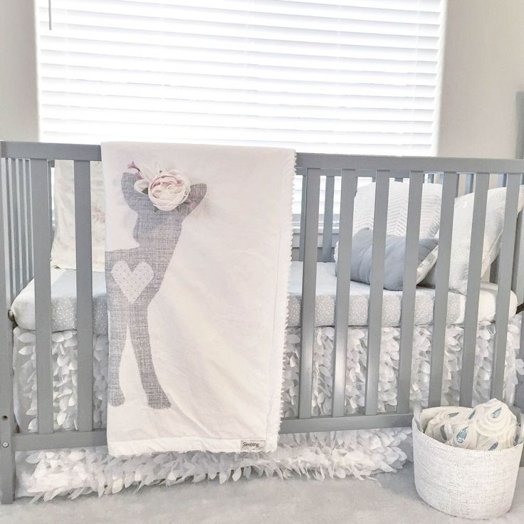 Baby Woodland Boho Fawn With Flower Crown Blanket In Gray And White Dreamy Nursery