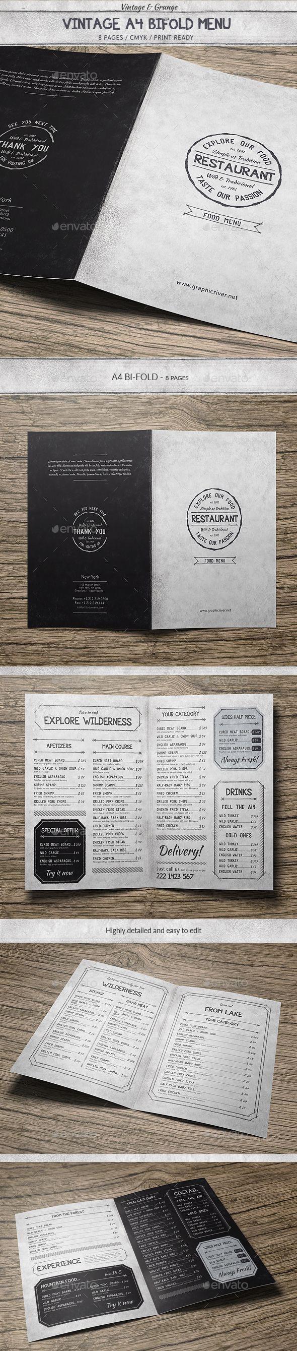 455 best trifold restaurant menu template images on pinterest vintage a4 bifold menu pronofoot35fo Choice Image