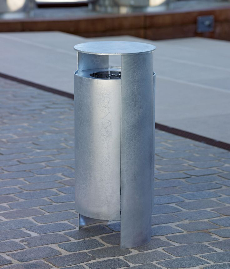 VERSIO ORBIS LITTER BIN, GALVANIZED, 40 L INCL. ASHTRAY - Designer Exterior bins from Westeifel Werke ✓ all information ✓ high-resolution images ✓..