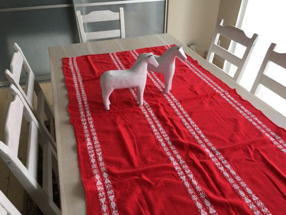 Swedish woven red table cloth Red white table runner Woven table runner Scandinavian table runner