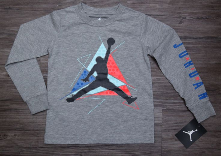 Air Jordan Boy Long Sleeve T-Shirt ~ Heather Gray, Blue & Orange ~ Jumpman ~ #Jordan #Jumpman
