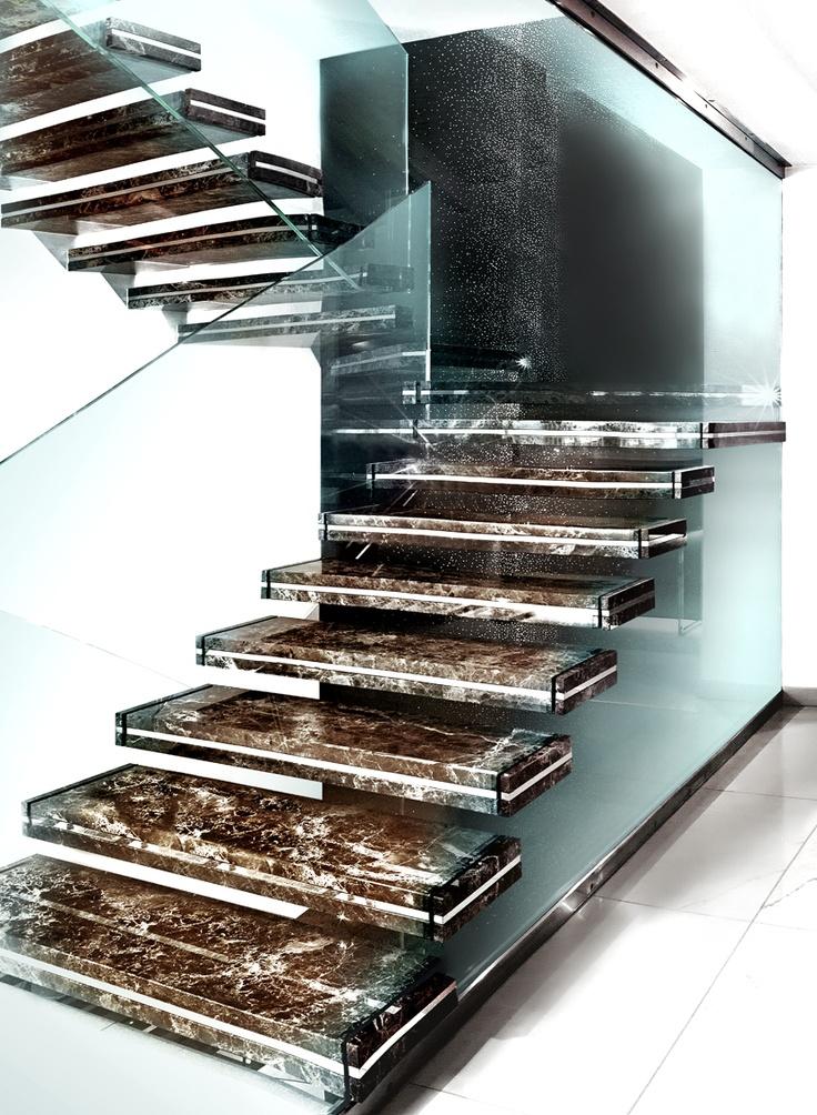 Marble cantilevered staircase luxo sandrini scale for Escaleras metalicas para interiores