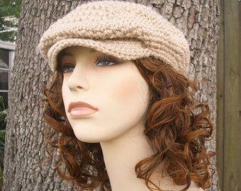 Beige sombrero del ganchillo sombrero Beige para hombre sombrero sombrero Beige de mujer Beige vendedor de periódicos sombrero - plano tapa de Golf - las mujeres accesorios otoño Moda invierno