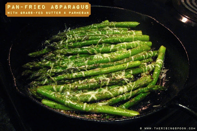 Pan-Fried Asparagus with Grass-Fed Butter & Parmesan | The Rising Spoon