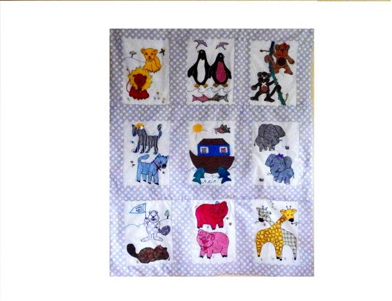 Noah's Ark Custom Baby Quilt Duvet Wall Hanging by Meoneil on Etsy, $400.00