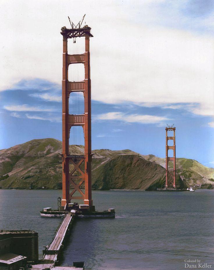 Golden Gate Bridge construction [Colourized by Dana Keller]