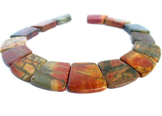 16 Autumn Picasso Picture Jasper trapezoidal by LifeForceGems, $15.00