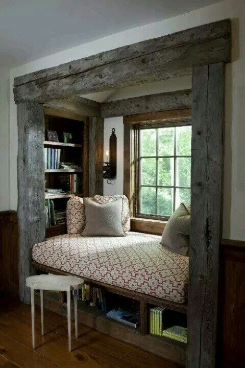 Love this cozy reading nook - I want a cozy reading spot in my next house - A MUST !