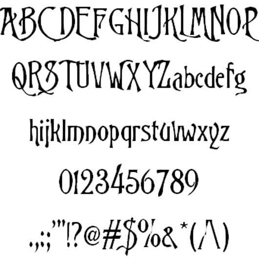 Trinigan fg font - Nightmare before Christmas font